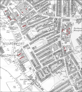 An 1898 OS map showing a small area of Middleport, Stoke-on-Trent, with bottle ovens marked in red.