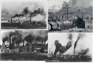 Several images of the Stoke-on-Trent skyline in the 19th century.