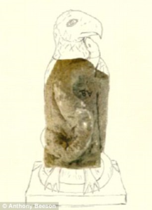 The statue fragment from Keynsham Villa, Somerset, with possible reconstruction. Image: Anthony Beeson.