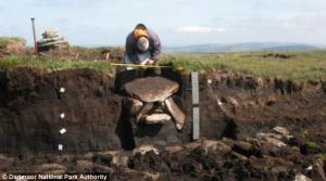 The excavated cist being recorded. Image: Dartmoor National Park Authority