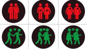 The new lights, depicting both hetero- and homosexual couples